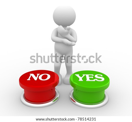 "3d people-human character choosing between ""yes""or ""no""-  This is a 3d render illustration"