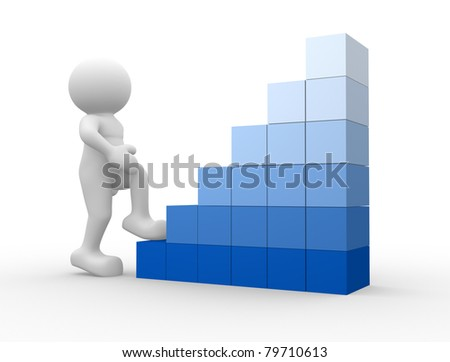 3d people - human character climb cubes. 3d render illustration - stock photo