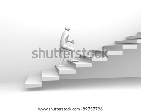 3d people - human character climb the staircase. 3d render illustration