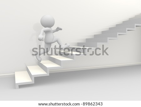 3d people - human character climb the  staircase. 3d render illustration - stock photo
