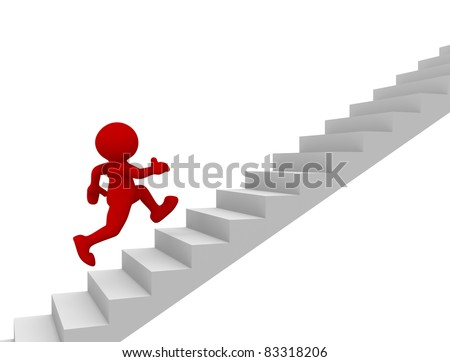 3d people - human character climb the  staircase - stair. 3d render illustration - stock photo