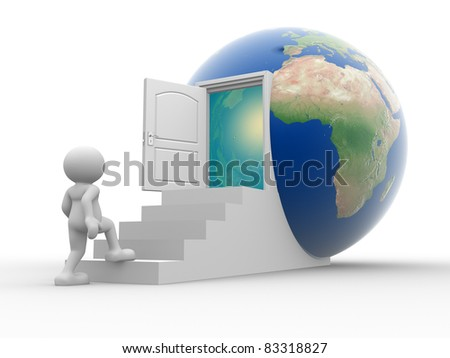 3d people - human character climbs stairs to the earth globe. 3d render illustration - stock photo