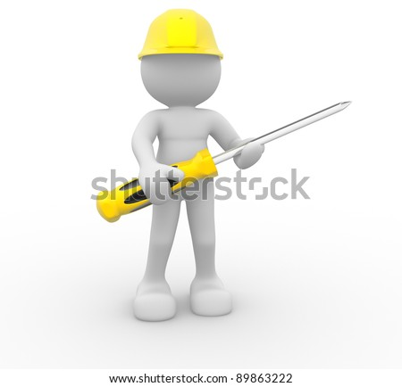 3d people - human character, construction worker with screwdriver. 3d render illustration - stock photo