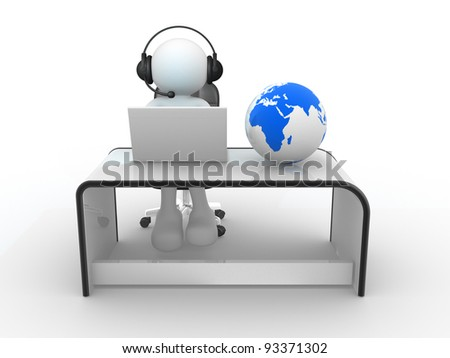 3d people - human character . Earth globe and person with headphones and  laptop at a office.  3d render - stock photo