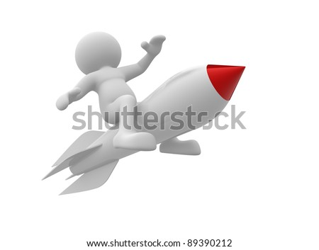 3d  people- human character flying on the rocket. 3d render illustration - stock photo