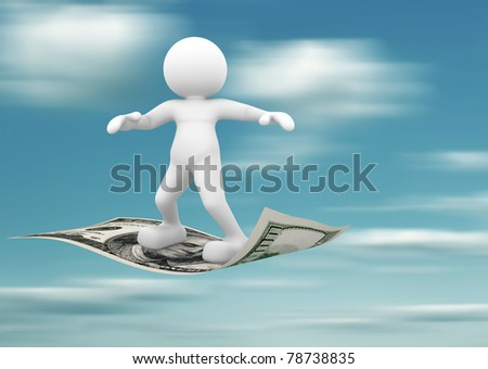 3d people - human character flying on U.S. dollars. 3d render illustration