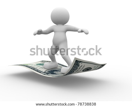 3d people - human character flying on U.S. dollars. 3d render illustration - stock photo