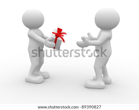 3d people - human character -gives a gift box. 3d render illustration - stock photo