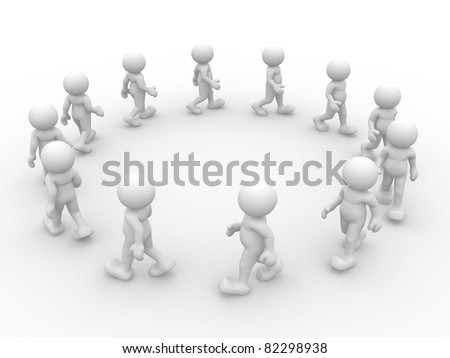 3d people- human character going in circles. 3d render illustration - stock photo