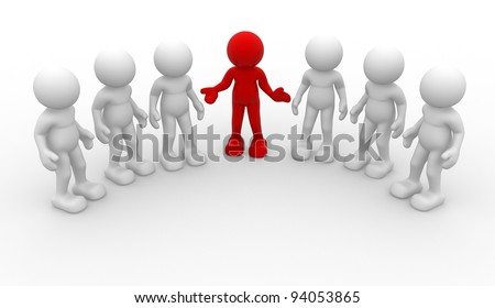 3d people -human character, group of person. Leadership and team - This is a 3d render illustration - stock photo