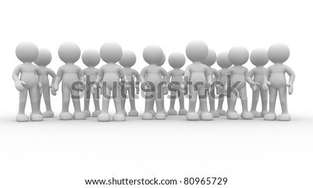 3d people - human character - group. This is a 3d render illustration - stock photo