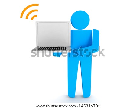 3d people - human character hold laptop.This is a 3d render illustration