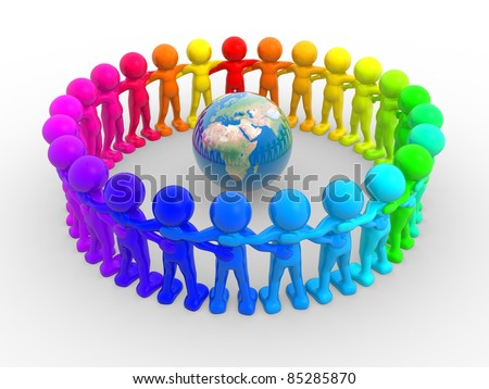 3d people - human character in circle and earth globe. 3d render illustration - stock photo