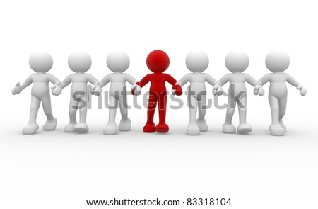 3d people -human character leadership and team - This is a 3d render illustration - stock photo