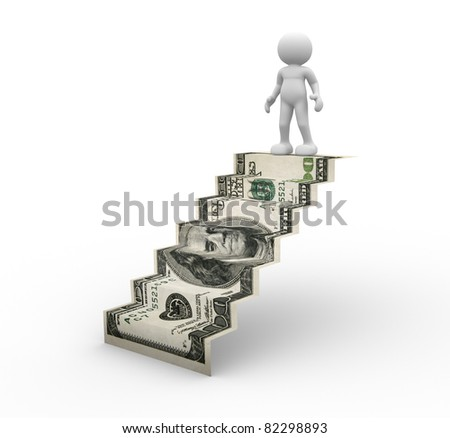 3d people - human character on ladder. 3d render illustration - stock photo