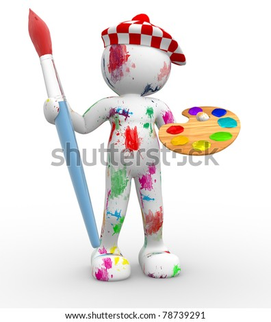3d people- human character - painter. 3d render illustration - stock photo