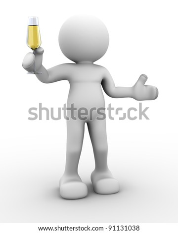 3d people - human character - person a toast with a glass of champagne . 3d render illustration