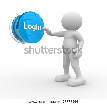 """3d people - human character - person and a button """" login"""". 3d render illustration - stock photo"""