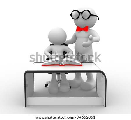 3d people - human character, person and a office. Teacher and student, studying. 3d render - stock photo