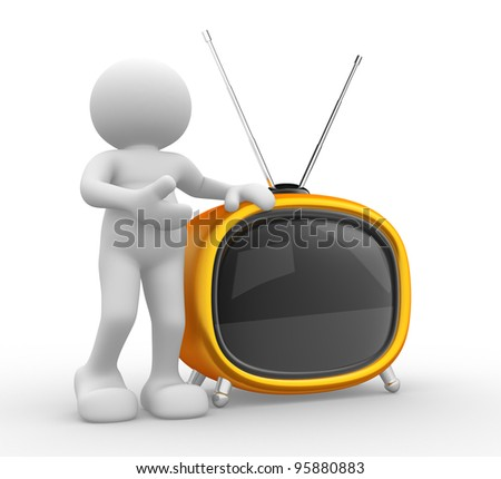3d people - human character, person  and a old tv. 3d render - stock photo
