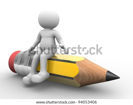 3d people - human character, person and a pencil. 3d render illustration - stock photo
