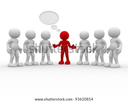 3d people - human character , person and empty speech bubble . 3d render illustration