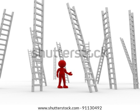 3d people - human character ,  person   and ladders , stair .  3d render - stock photo
