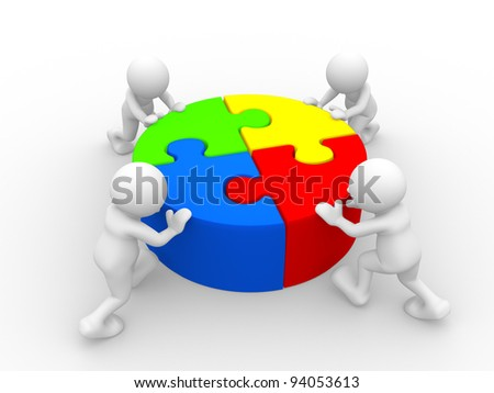 3d people - human character - person and  pieces  jigsaw ( puzzle ) . 3d render illustration - stock photo