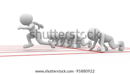 3d people - human character, person at  starting line. Athlete - sports. 3d render - stock photo