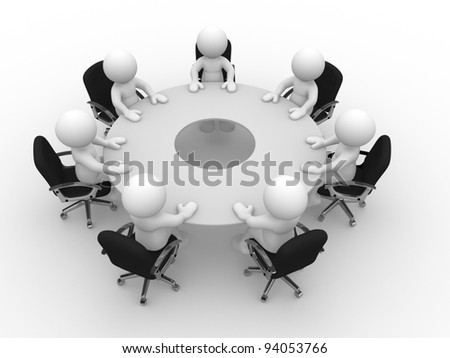 3d people  - human character, person at the conference table. Meeting. 3d render illustration - stock photo