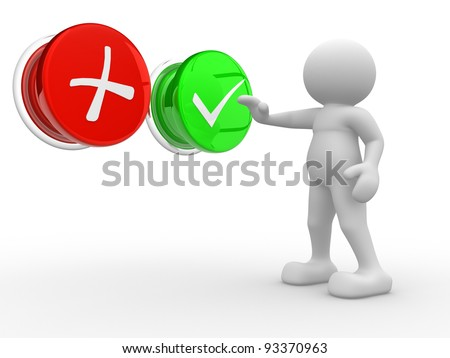 """3d people - human character , person  choosing between """"yes""""or """"no"""". Check. 3d render - stock photo"""