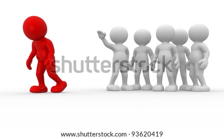 3d people - human character , person. Discrimination concept. Different.  3d render illustration