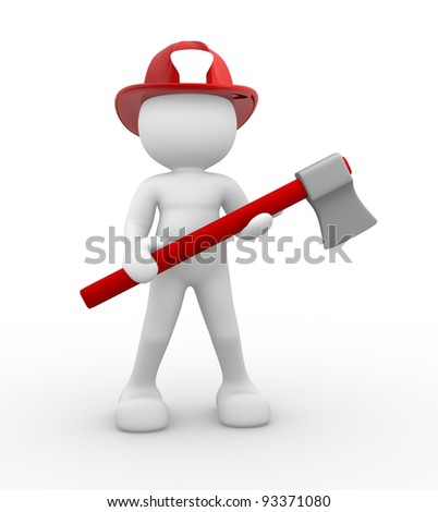 3d people - human character , person - fireman and a axe. 3d render - stock photo