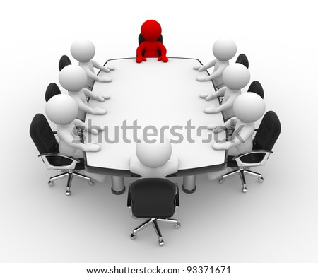 3d people - human character, person . Leadership and team at conference table . 3d render