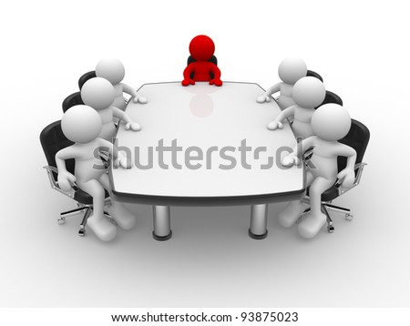3d people - human character , person . Leadership and team at conference table.  3d render illustration