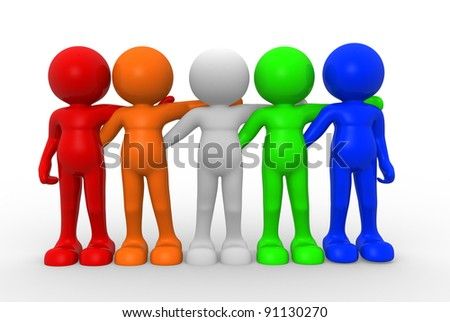 3d people - human character ,  person of different nationalities , friends together . 3d render - stock photo
