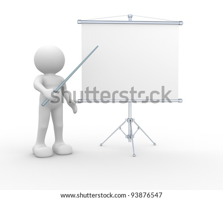 3d people - human character - person  presenting at a flip-chart. 3d render illustration - stock photo