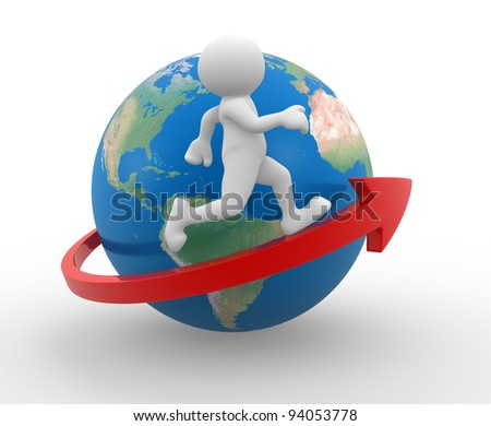 3d people - human character , person running on an arrow around Earth globe. 3d render - stock photo