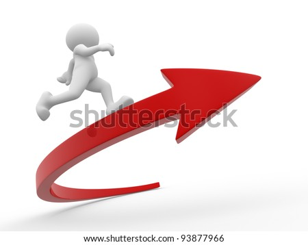 3d people - human character, person running the arrow. Success. 3d render illustration - stock photo