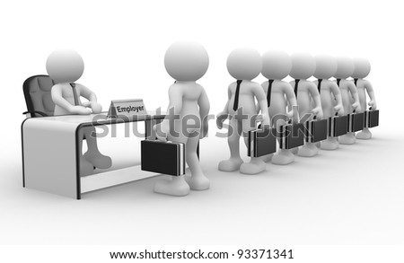 3d people - human character, person sitting at a office.  Employer and applicant. 3d render