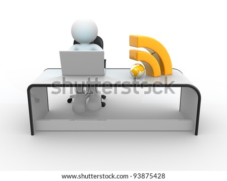 "3d people - human character , person sitting at the table and working, with laptop and a ""Rss"" sign. 3d render"