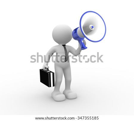 3d people - human character , person speaking to a megaphone.  - stock photo