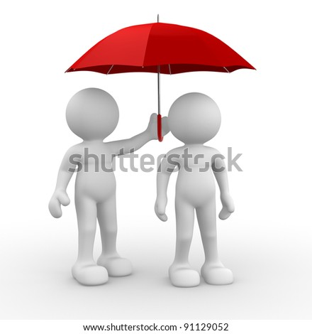 3d people - human character ,  person under an  umbrella.  3d render illustration - stock photo