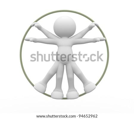3d people - human character, person,  vitruvian man. 3d render - stock photo