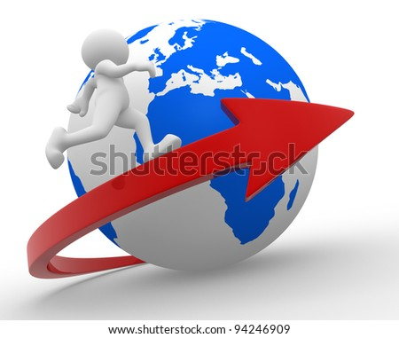 3d people - human character, person with a arrow and  Earth globe. 3d render