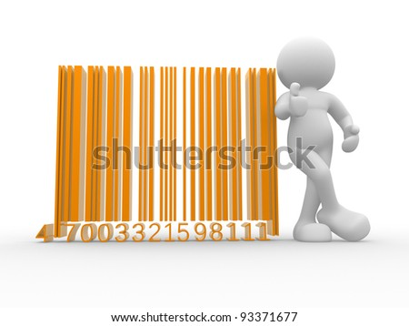 3d people - human character , person with a bar code ( barcode ) . 3d render - stock photo
