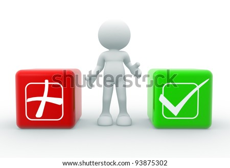3d people - human character , person with a button and check-mark . 3d render illustration - stock photo