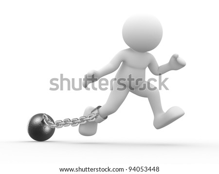 3d people - human character, person with a chain ball. Prisoner. 3d render