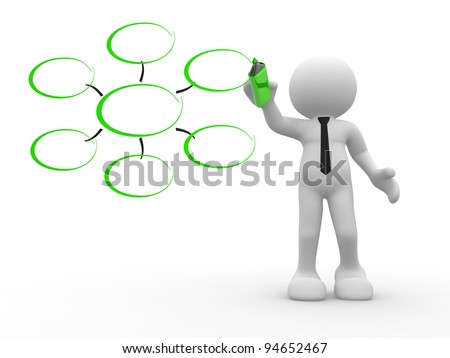 3d people - human character, person with a marker. Conceptual image of drawing blank chart. 3d render - stock photo