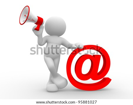 3d people - human character, person  with a megaphone and email sign. 3d render - stock photo